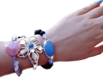 Boho bracelets, bohemian stack bracelets, gemstone bracelet, swarovski crystal bracelet, chalcedony bracelet, flower bracelet, OOAK