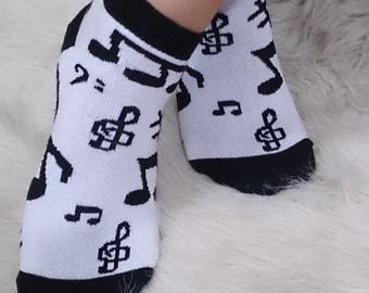 Music Clef, note socks music costume, yoga sports socks  girl socks, black white socks, winter gifts idea, christmas gifts, holiday gifts