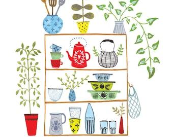 """Kitchen Shelves1 8 x 10"""" giclee print"""