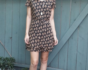 Black Floral Altered 90's Vintage Dress - Size Small