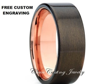 Rose Gold Tungsten Wedding Band,Rose Gold Tungsten Ring,Gunmetal Rose Tungsten Ring,18k Rose Gold Band,Anniversary Ring,Comfort Fit,Unique