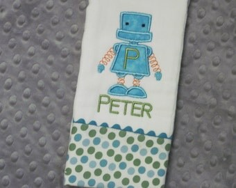 Personalized Baby Boy Burp Cloth - Super Cool Robot