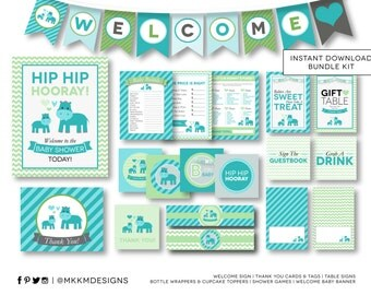 Hip Hooray Hippo Baby Shower INSTANT DOWNLOAD Party Kit with Banner, Games, Signs and Party Decorations #1204 Blue and Green