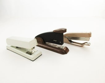 Your Choice - Three Different Staplers - 1970s Staplers - 'Swingline' - Small Staplers - Hand-held Tan - 'Speed Products', Long Island City