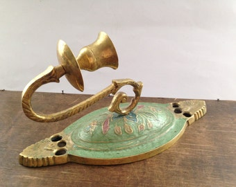 Vintage brass wall lamp Brass wall sconce Oval brass sconce Solid brass candle sconce
