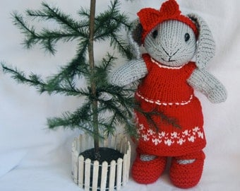 Hand Knitted Cotton Bunny Rabbit Stuffed Toy with Christmas Dress and Christmas Eve Nightgown & Reindeer Slippers