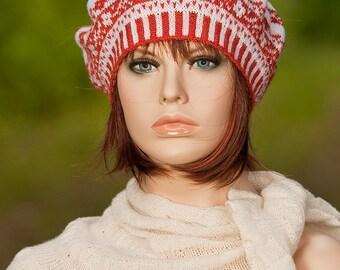 Hans knitted fair isle beret, fair isle tam, jacquard beret, flower motifs, white, rust, colors, for women, for girls, woolen beret