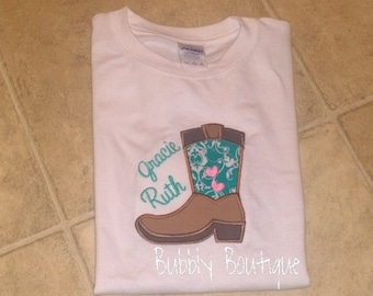 Girls Cowboy boot shirt for cowgirl / gift / photo /