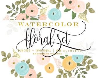 watercolor floral clipart - flower clipart - peach flowers clipart - watercolor clipart - watercolor leaf clipart - freshmint paperie