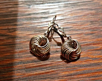 Silver Wire Circle Knot Pierced Earrings Vintage