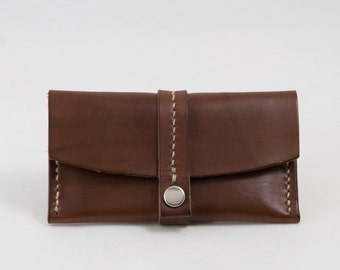Business Card Case, Leather Card Holder, in Brown