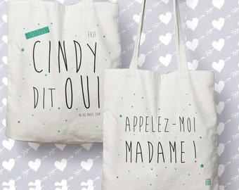 """Bag """"Cindy said yes, call me Madam"""", double sided, custom tote bag, Tote, bridesmaid gift bag, gift EVJF, wedding"""