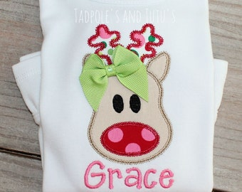 Personalized Whimsicial Girly Reindeer Applique