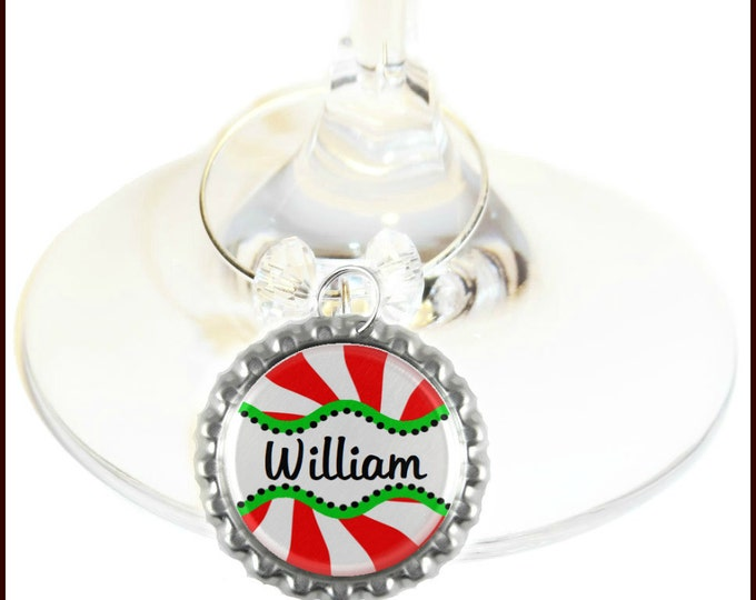 Christmas Wine Charms - Personalized With Name, 1 pack