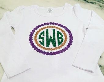 Monogrammed Mardi Gras Shirt