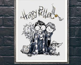 Harry Potter | Hermione Granger | Ron Weasley | Dobby | Print