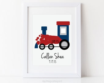 Train Nursery Art Print, Transportation Nursery Wall Art, Baby Footprint Art, Personalized Boys Room Decor, Your Child's Feet, UNFRAMED