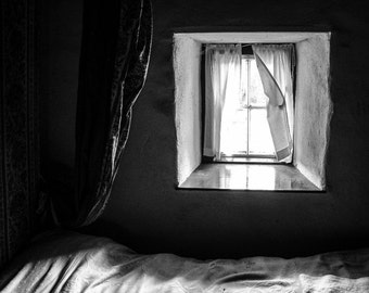 Black and White Print - Bed at the Window Fine Art Photograph - Vintage Ireland Photography - Bedroom Decor - Romantic Print
