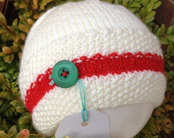 Cream and red knitted Christmas beanie hat with button - size 0 to adult
