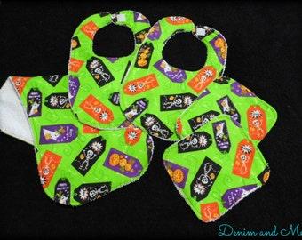 READY TO SHIP- Halloween Baby Boy or Girl Bib/Burpcloth/Washcloth Set with extras