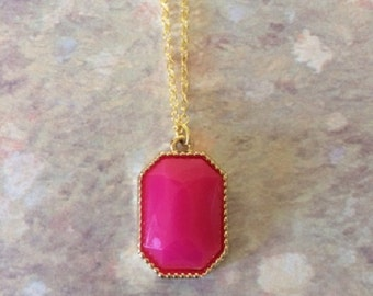 Hot Pink Necklace - Hot Pink Jewelry - Pink Necklace - Pink Jewelry - Pink Pendant - Fuschia Necklace - Stone Necklace - Stone Pendant