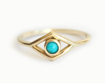 Eye Ring, Gold Eye Ring, Turquoise Evil Eye ring, Gold Turquoise Ring, Dainty Turquoise Ring, 14k Yellow Gold Band
