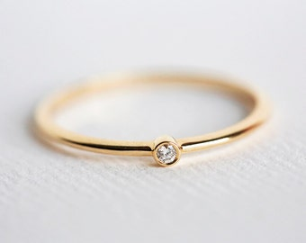 Tiny Diamond Ring, Baby Diamond Ring, diamond Engagement Ring, Small diamond Ring