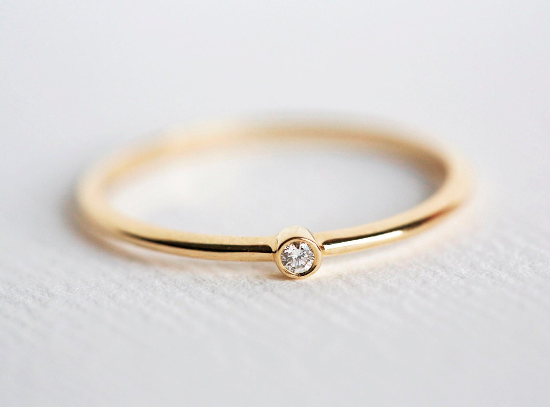 Tiny diamond ring baby diamond ring diamond engagement ring for Tiny wedding ring
