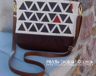 Waxed Canvas & Dark Brown Leather Triangle Purse