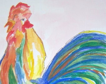 Colorful Rooster Original Watcolor Painting