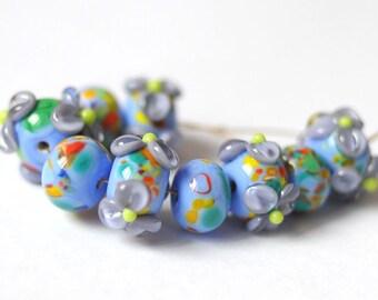 9 pcs Multicolor Lampwork  Beads - Flower Set