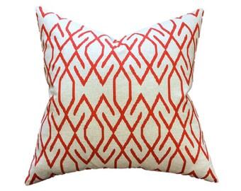 "Ikat Pillow- Red, Orange, Coral, Natural Linen Blend Geometric Designer Pillow Cover- Accent Pillow- Throw Pillow-  Holds 22"" Pillow Insert"