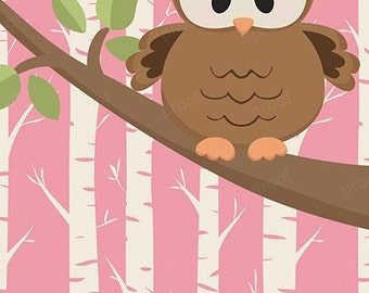 Pink Willow Brown Owl Personalized Bank