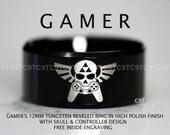 Legend Of Zelda Inspired 12MM Tungsten Gamer Wedding Ring, Black High Polish Beveled Ring, Free Inside Engraving
