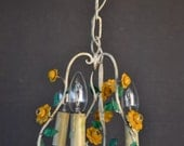 Beautiful small toleware flower chandelier