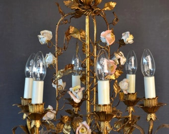 Beautiful old golden tole flower chandelier with pink roses