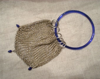 Vintage Chainmail Purse Sterling Silver Small Tiny Blue Cellulite Beads and Handle, Unique Design, Beautiful