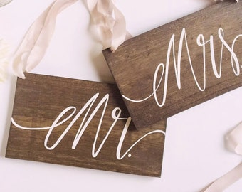 Mr and Mrs Chair Signs, Rustic Wooden Wedding Signs, Photo Prop Signs | 10x5.5 Set