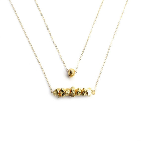Gold Bar Necklace, Fools Gold Necklace, Pyrite Necklace, Gold Layer Necklace, Gold Nugget Necklace, 14k Gold Fill Necklace, Dainty Gold