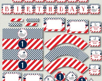 Red and Navy Whale Birthday Party Printables, Boy Birthday Party, 1st through 5th birthdays, Nautical Birthday Party, Whale Party, Kids