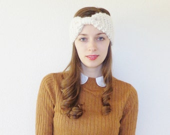 Chunky Knit Bow Headband // Knit Ear Warmer // Wool Knit Headband // THE ELY