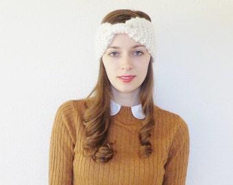 Chunky Knit Bow Headband // Knit Ear Warmer // Wool Knit Headband // THE ELY