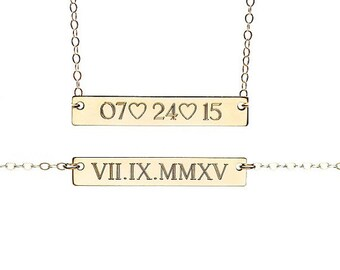 WEDDING DATE necklace - due date necklace - personalized date necklace - custom date necklace - roman numeral date necklace - love necklace
