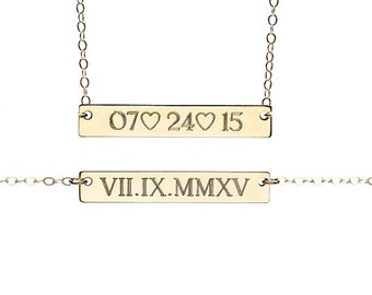 WEDDING DATE necklace - due date necklace - personalized date necklace - custom date necklace - roman numeral date necklace - engraved