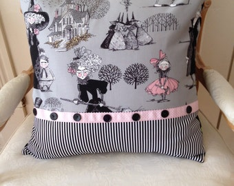 Halloween Pillow Cover, Scary Shabby Chic Sham, The Ghastlies, Alexander Henry, One-of-A-Kind Decorative Pillow Cover,Black and Pink