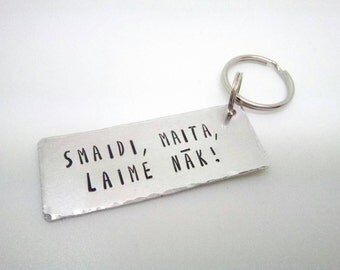Keyring with text in Latvian, Latvia collection keychain, funny Latvian saying