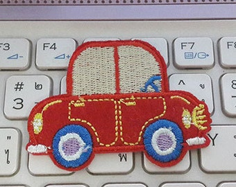 Red Car Applique Embroidered Iron on Patch