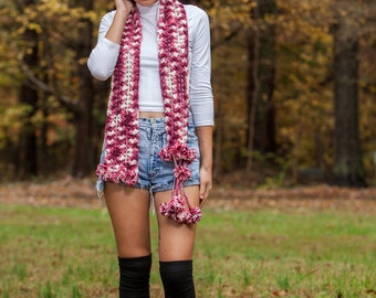 one of a kind hand made crochet pink scarf with pom poms