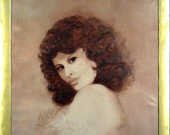Rare ca.1960 Dark Hair Young Lady Portrait Oil Painting w/Frame Signed