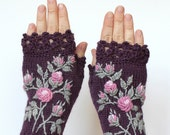 MADE TO ORDER in 4-6 weeks, Knitted Fingerless Gloves, Violet, Roses, Clothing And Accessories, Gloves & Mittens, Gift Ideas, For Her,
